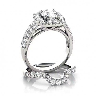 1.85CT Round Cut White Sapphire 925 Sterling Silver Halo Bridal Sets