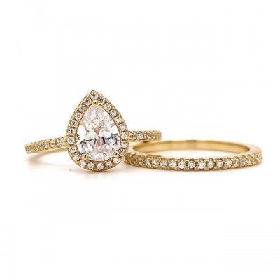 Pear Cut White Sapphire 925 Sterling Silver Gold Halo Bridal Sets