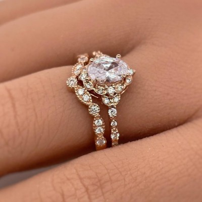 2CT Oval Cut White Sapphire 925 Sterling Silver Rose Gold Halo Bridal Sets