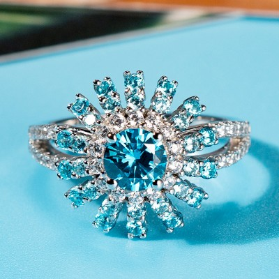 Round Cut Aquamarine 925 Sterling Silver Halo Engagement Rings