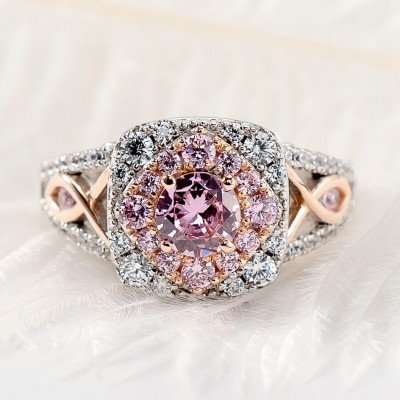 Round Cut Pink Sapphire 925 Sterling Silver Rose Gold Halo Engagement Rings