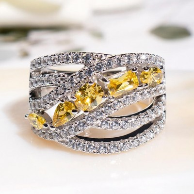 Yellow Topaz 925 Sterling Silver Rings