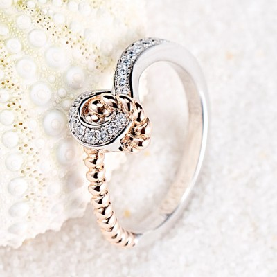 Round Cut White Sapphire 925 Sterling Silver Rose Gold Engagement Rings