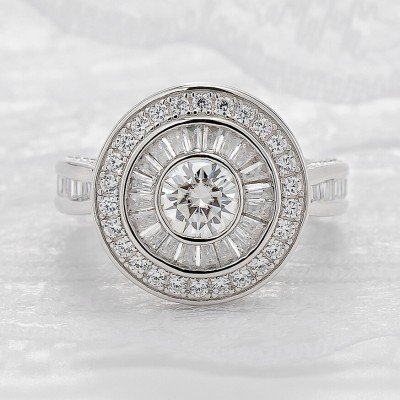 Round Cut White Sapphire 925 Sterling Silver Double Halo Engagement Rings