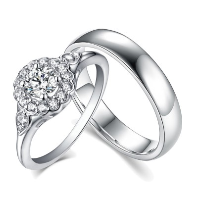 Round Cut Halo White Sapphire 925 Sterling Silver Couple Rings