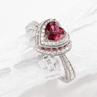 Heart Cut Ruby 925 Sterling Silver Halo Engagement Rings