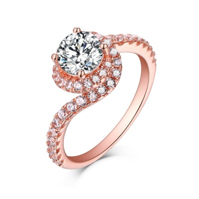 Round Cut White Sapphire Rose Gold 925 Sterling Silver Halo Engagement Rings