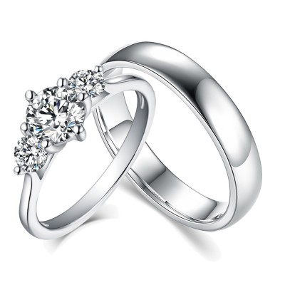 Round Cut Three Stone White Sapphire 925 Sterling Silver Couple Rings