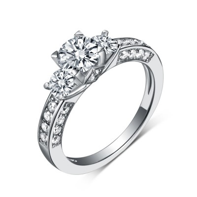 Round Cut White Sapphire 925 Sterling Silver Three Stone Engagement Rings