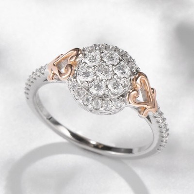 Round Cut White Sapphire Heart Two-Tone Rose Gold 925 Sterling Silver Halo Engagement Rings