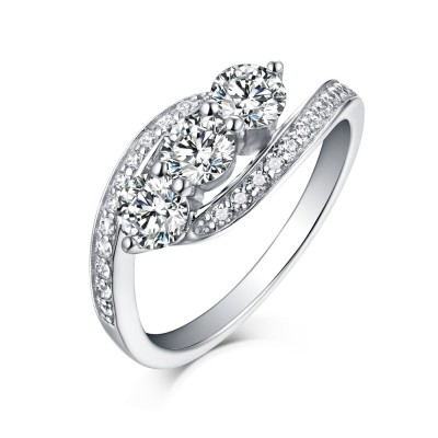 Round Cut 925 Sterling Silver Three Stone White Sapphire Engagement Rings