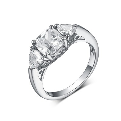 Princess & Trillion Cut White Sapphire 925 Sterling Silver Three Stone Engagement Rings
