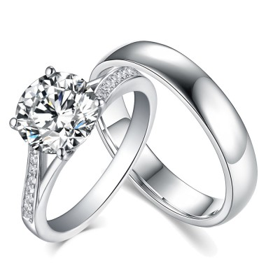 Round Cut White Sapphire 925 Sterling Silver Couple Rings