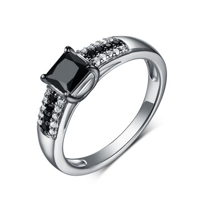 Princess Cut 925 Sterling Silver Black & White Sapphire Engagement Rings
