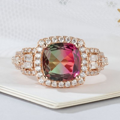 Cushion Cut 925 Sterling Silver Rose Gold Watermelon Engagement Rings