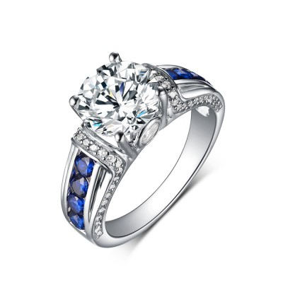 Round Cut Sapphire & White Sapphire 925 Sterling Silver Engagement Rings