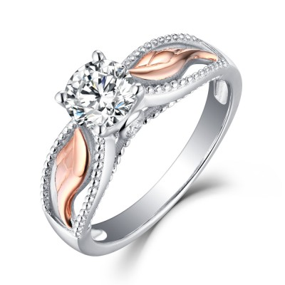 """Angel Wings"" Round Cut White Sapphire Rose Gold Sterling Silver Womens Engagement Ring"