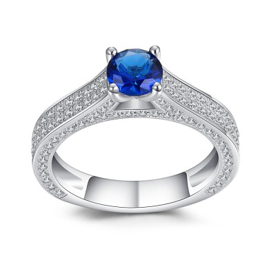 Round Cut Blue and White Sapphire Sterling Silver Engagement Ring