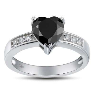 Heart Cut Black 925 Sterling Silver Promise Rings For Her