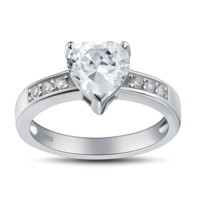Heart Cut Gemstone 925 Sterling Silver Promise Rings For Her