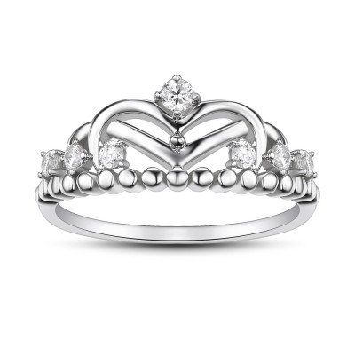 Crown Round Cut White Sapphire 925 Sterling Silver Promise Rings For Her