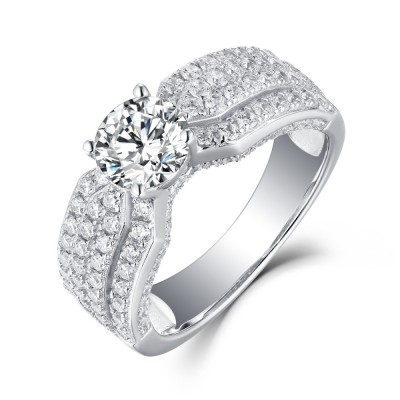 Round Cut White Sapphire Sterling Silver Womens Engagement Ring