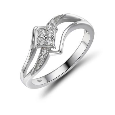 Elegant Sterling Silver White Sapphire Women's Engagement Ring