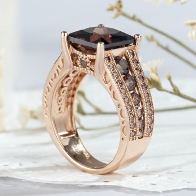 5.56CT Princess Cut Chocolate 925 Sterling Silver Rose Gold Engagement Rings