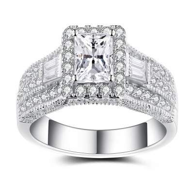 Radiant Cut White Sapphire Sterling Silver Women's Engagement Ring