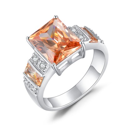 Princess Cut 925 Sterling Silver Topaz Women's Engagement Ring