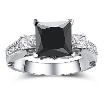 Black Diamond Rings Cheap Black Diamond Engagement Rings Lajerrio