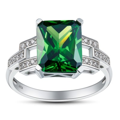 Emerald Cut Emerald Gemstone 925 Sterling Silver Engagement Ring