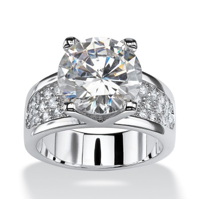 Round Cut White Sapphire Sterling Silver Classic Engagement Rings