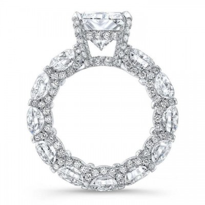 Radiant Cut White Sapphire Sterling Silver Engagement Ring
