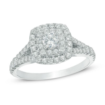 Round Cut White Sapphire 925 Sterling Silver Double Halo Engagement Ring