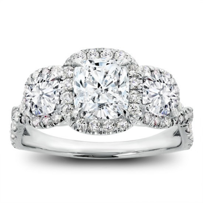 Cushion Cut White Sapphire Sterling Silver 3-Stone Halo Engagement Ring