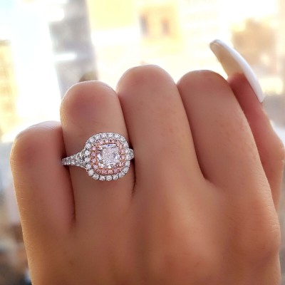 Cushion Cut White Sapphire and Pink Sapphire Sterling Silver Double Halo Engagement Ring