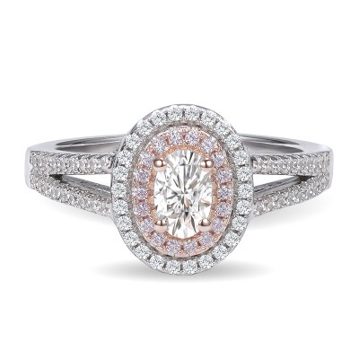 0.98CT Oval Cut White Sapphire 925 Sterling Silver Double Halo Engagement Rings
