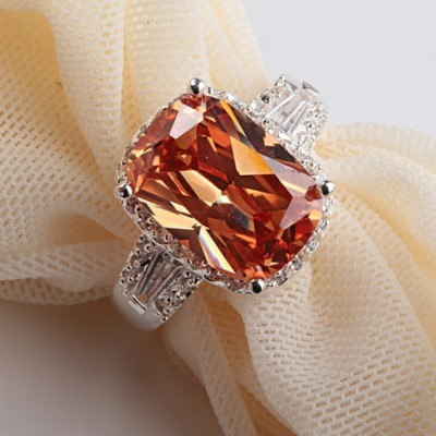 Radiant Cut Orange & White  Engagement Ring