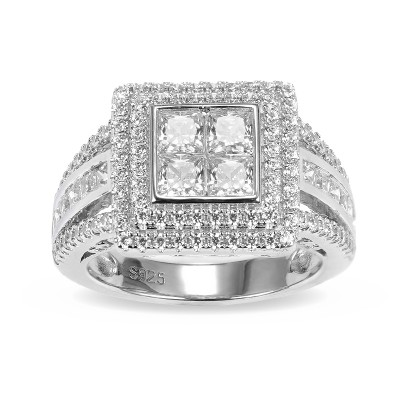 Princess Cut White Sapphire 925 Sterling Silver Double Halo Engagement Rings