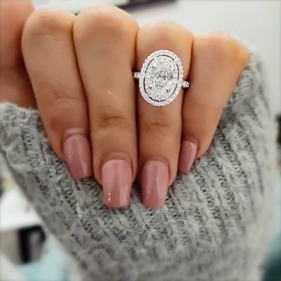 10.65CT Oval Cut White Sapphire 925 Sterling Silver Halo Engagement Rings