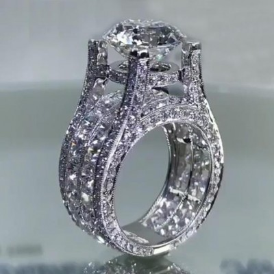 Round Cut White Sapphire 925 Sterling Silver Art Deco Engagement Rings