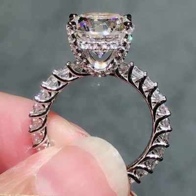 06a82d127 Round Cut White Sapphire 925 Sterling Silver Engagement Rings ...