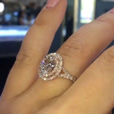 4.56CT Oval Cut White Sapphire 925 Sterling Silver Halo Rose Gold Engagement Rings