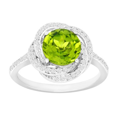 3.5CT Round Cut Peridot 925 Sterling Silver Halo Birthstone Rings