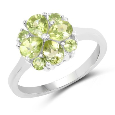 Pear Cut Peridot 925 Sterling Silver Birthstone Rings