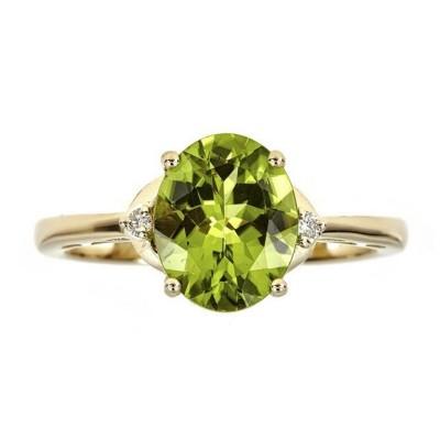 Oval Cut Peridot 925 Sterling Silver Gold Birthstone Rings