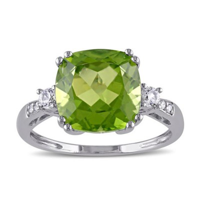 Cushion Cut Peridot 925 Sterling Silver Birthstone Rings