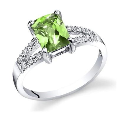 Radiant Cut Peridot 925 Sterling Silver Birthstone Rings