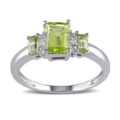 Emerald Cut Peridot 925 Sterling Silver 3-Stone Birthstone Rings